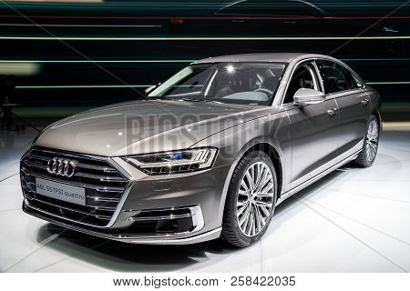 Frankfurt, Germany - Sep 13, 2017: Audi A8 L 55 Tfsi Quattro Car Showcased At The Frankfurt Iaa Moto