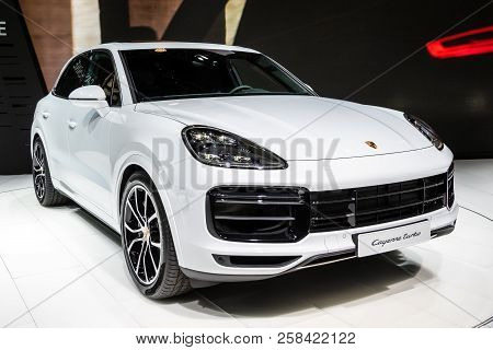 Frankfurt, Germany - Sep 13, 2017: New Porsche Cayenne Suv Car Showcased At The Frankfurt Iaa Motor