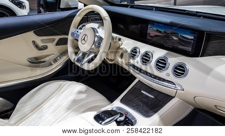 Frankfurt, Germany - Sep 13, 2017: Mercedes Amg S65 Cabriolet Car Interior Showcased At The Frankfur