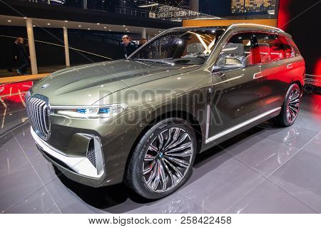Frankfurt, Germany - Sep 13, 2017: Bmw X7 Iperformance Suv Car Showcased At The Frankfurt Iaa Motor