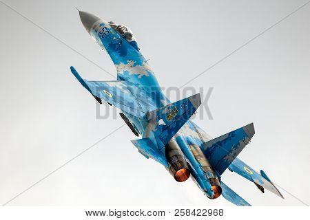 Kleine Brogel, Belgium - Sep 8, 2018: Ukrainian Air Force Sukhoi Su-27 Flanker Fighter Jet Take Off