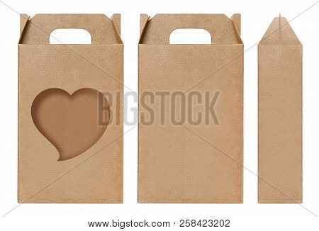 Box Brown Window Heart Shape Cut Out Packaging Template, Empty Kraft Box Cardboard Isolated White Ba
