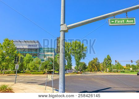 Sunnyvale, California, United States - August 12, 2018: First Ave Sign In Front At Yahoo Inc Headqua