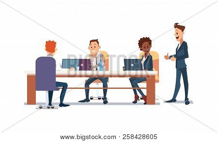 Office Fun Concept. Coworking Workspace. People Work In Office. Happy Workers In Workplace. Corporat