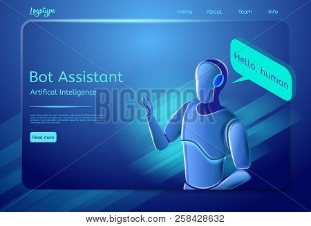 Robot Assistant Concept. Bot Virtual Assistance. Digital Technology And Artificial Intelligence. Cha