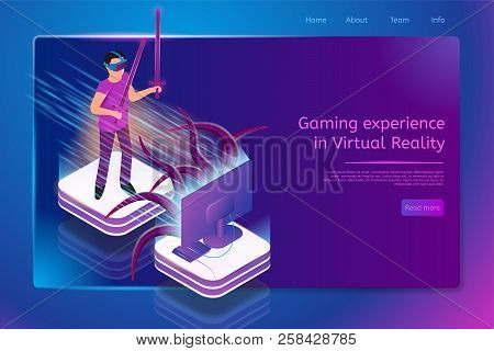 Gaming Experience In Virtual Reality Isometric Web Banner With Man Fighting Monster While Playing Vi