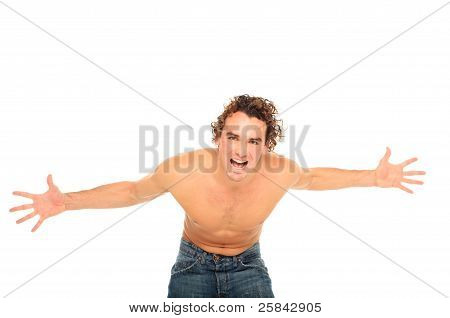 Man Screaming With Open Hands