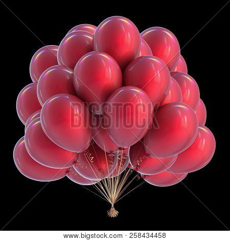 Party Balloons Bunch Red Birthday Decoration Colorful Modern Celebration Symbol. 3d Rendering, Isola