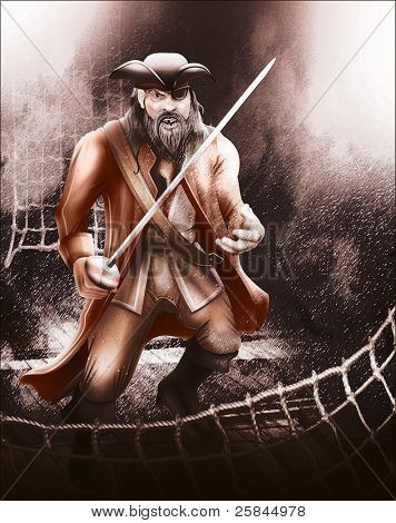 Pirate aboard ship ready for a fight