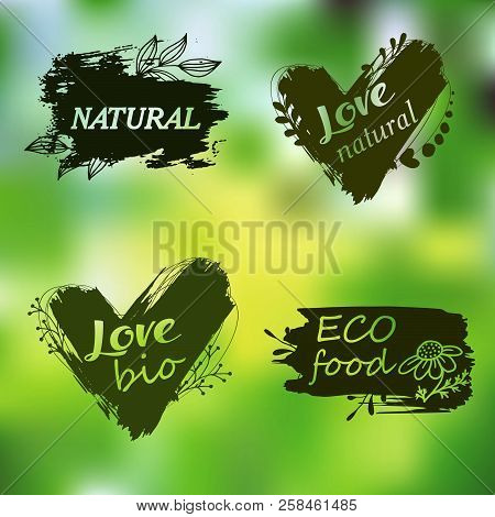 Doodle Logos. I Love Organic. Vector Illustration For Menu Of Restaurants, Packaging, Advertising. S