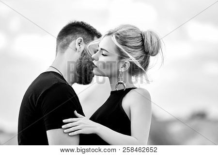Love And Emotions Loving Couple Resting In Turkey. In Love Eastern Couple In The Mountains Of Cappad