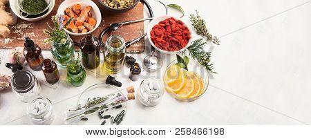 Homeopathy. Alternative Medicine Concept . Top View