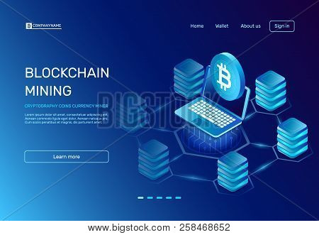 Blockchain Mining. Cryptography Coins Currency Miner On Laptop Connected To Blockchain Bitcoin Netwo