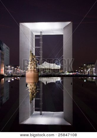 Reflection Of The Grande Arche In Paris At Night