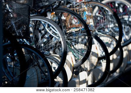 Bicycles In Tokyo, Japan. Tokyo Has Many Bicycles Since The Land Is Pretty Flat. Many Japanese Peopl