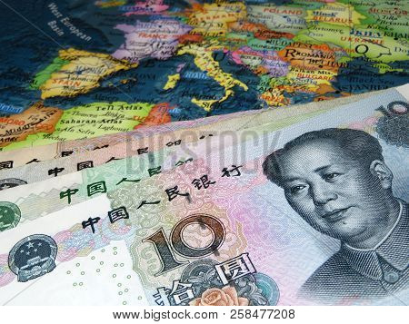 Yuan On Europe Map Background. Concept For Trade Between The Chine And Europe, Chinese Investment In