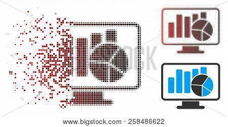 Statistics Monitoring Icon With Face In Sparkle, Dotted Halftone And Undamaged Solid Variants. Pixel