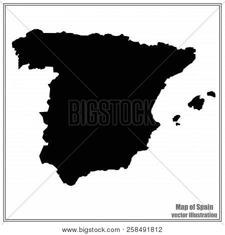 Map Of Spain. Black Illustration With Map. Spain Map In Black Colors. Vector Illustration.