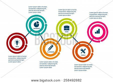 Infographics Of Success. Template Business Infographics With Six Steps To Success. Business Startup