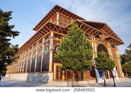 August 21, 2018 Batumi, Adjara, Georgia. Perspective View On The Beautiful Wooden Building Of The Ne