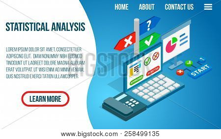 Statistical Analysis Concept Banner. Isometric Banner Of Statistical Analysis Vector Concept For Web