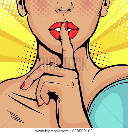 Top Secret Silence Girl. Beautiful Woman Put Her Finger To Her Lips, Calling For Silence. Colorful V