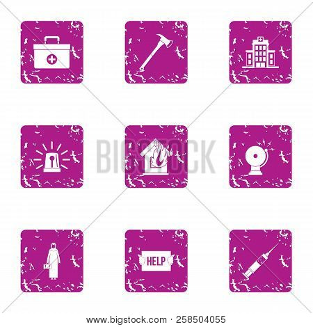 Emergency Agency Icons Set. Grunge Set Of 9 Emergency Agency Vector Icons For Web Isolated On White