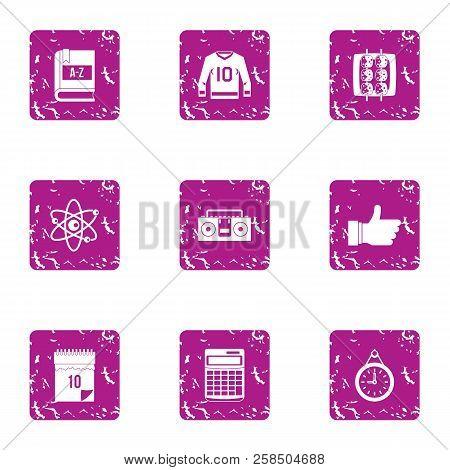 University Employment Icons Set. Grunge Set Of 9 University Employment Vector Icons For Web Isolated