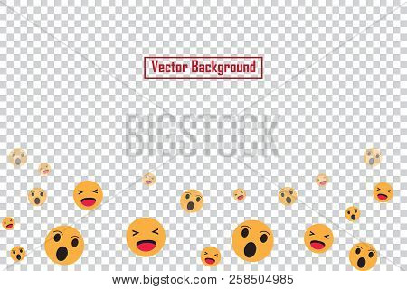 Social nets emoji floating web buttons isolated on transparent background. Emoji icons for live stream video chat likes falling background vector template