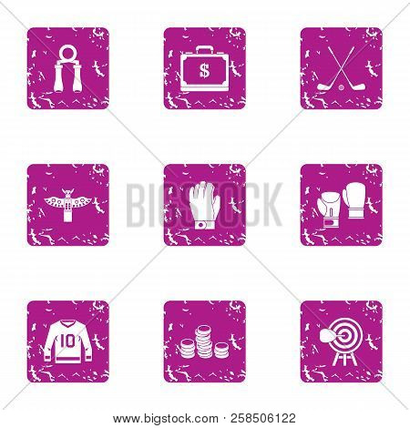 Rich Athlete Icons Set. Grunge Set Of 9 Rich Athlete Vector Icons For Web Isolated On White Backgrou