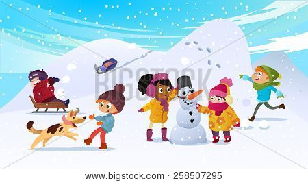 Vector Illustration Of Multiracial Kids Playing Outdoors. Girls And Boys Making Snowman In Winter, C