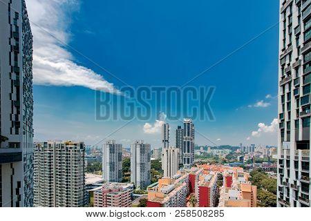 Singapore City Skyline Landscape At Blue Sky. Urban Skyscrapers Cityscape
