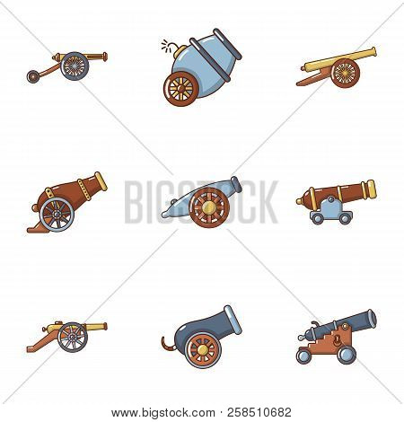 Artillery Icons Set. Cartoon Set Of 9 Artillery Vector Icons For Web Isolated On White Background