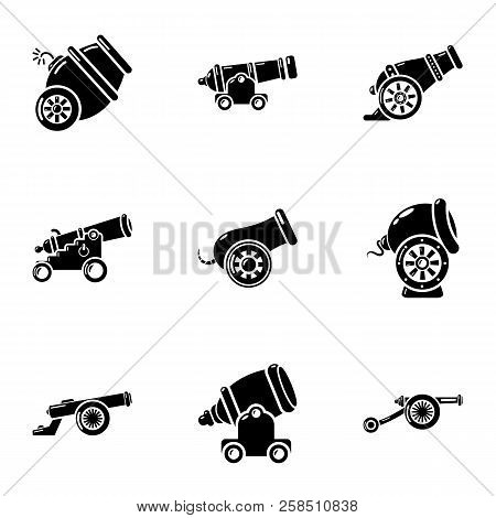 Artillery Installation Icons Set. Simple Set Of 9 Artillery Installation Vector Icons For Web Isolat