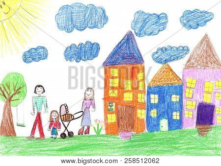 poster of Drawing happy family with a stroller walk in the yard