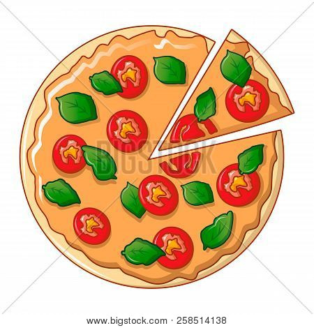 Top View Pizza Icon. Cartoon Of Top View Pizza Vector Icon For Web Design Isolated On White Backgrou