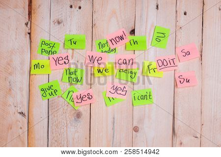 motivating phrases like Now, can do it, Yes, on colour sticky notes above demotivating text like I Can not, not Today,delay, give up  poster