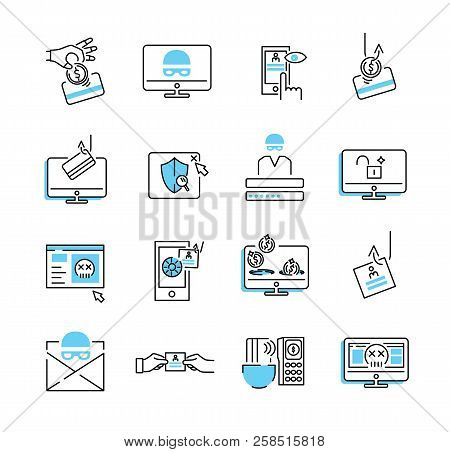 Phishing icon collection set. Vector illustration of privacy data stealing. Trojan, spyware and virus criminal technology to get person private and not secure data access poster