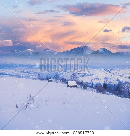 Beautiful Winter Alpine Mountain Snowy Hills. High Mountain Landscape. Dolomites, Italy