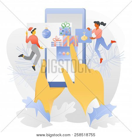 Vector Illustration Of Big Hands With Smartphone And Tiny Cople Nearby. New Year Template For Online