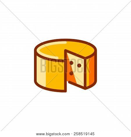 Wheel Of Cheese Icon. Dairy Product Label. Ingredient For Sandyichi, Cheeseburgers, Preparation Of P