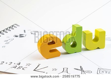 Wooden Toy Edu On Notebook With Drawing Doodle For Education. Education And School Background For St