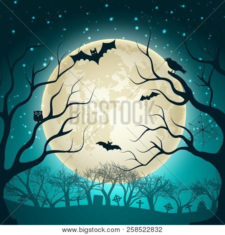 Halloween Party  Background With Big Glowing Moon Ball On Night Sparkle Sky And Bats In Magic Forest