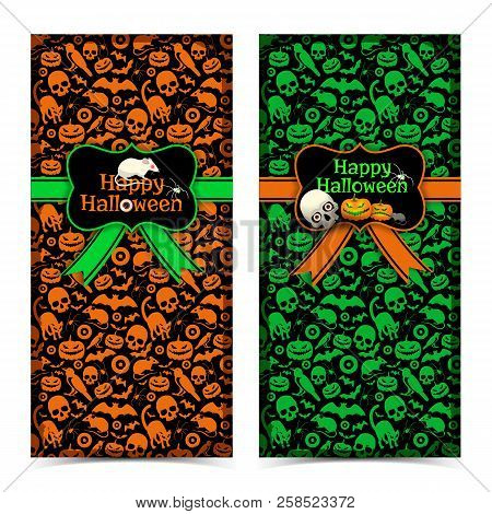 Happy Halloween Vertical Banners In Green And Orange Colors With Seamless Background Vintage Greetin