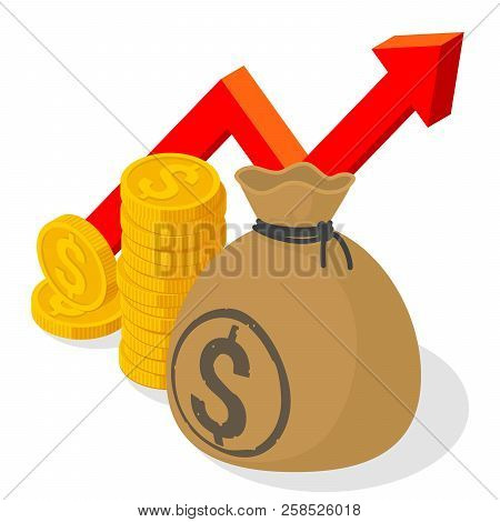 us dollar investment and saving financial growing chart flat design vector template coins money