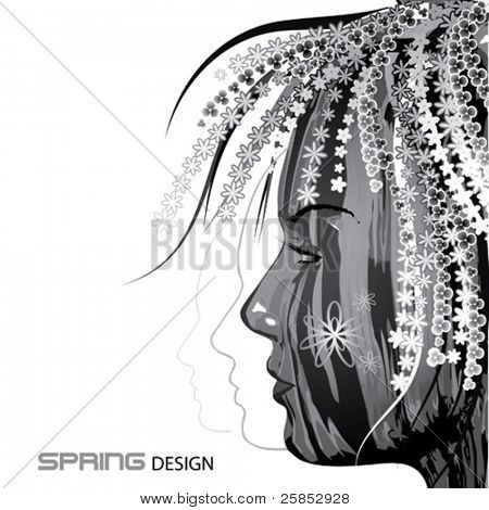 Abstract Vector Girl Face with Flowered Hair
