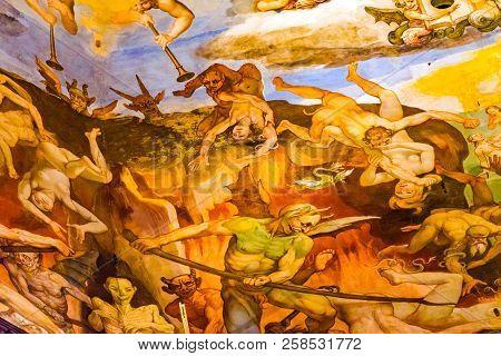 Florence, Italy - September 23, 2017 Devils Last Judgment Giorgio Vasari Fresco Dome Duomo Cathedral