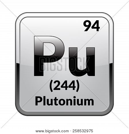 Plutonium Symbol.chemical Element Of The Periodic Table On A Glossy White Background In A Silver Fra