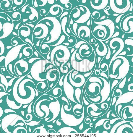 Gree And White Vector Leaf Seamless Pattern. Ornament. Floral Pattern. Vintage. Traditional, Arabic,