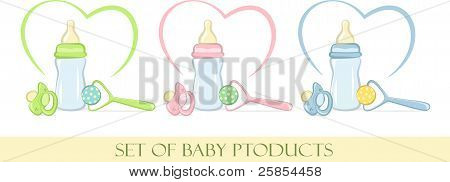 Set of baby product in gentle colors, vector illustration